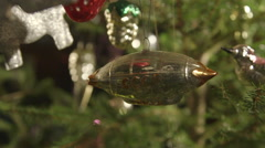 Russian Christmas tree vintage Soviet blown glass ornament of dirigible Stock Footage