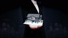 Businesswoman open palms, real estate, constructed house Stock Footage