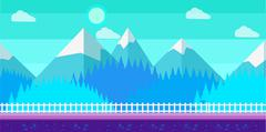 Seamless cartoon winter vector landscape for computer game Stock Illustration