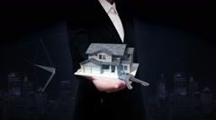 Businesswoman open palms, real estate, constructed house and house key. Stock Footage