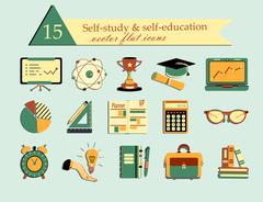 Self study and education themed icons set. Stock Illustration