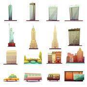 New York  Transportation Landscape Icons Set Stock Illustration