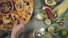 4k Traditional Mexican Food and Beer, Taking Tortilla Stock Footage