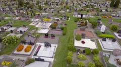 Aerial, flight over tombs of a cemetery. Stock Footage