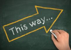 This way chalkboard write concept  3d illustration Stock Illustration
