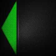Green and black carbon fiber background. Stock Illustration