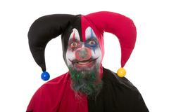 Portrait of a Jester, isolated on white Stock Photos