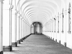 Long archway corridor Stock Photos