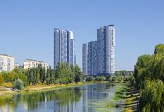 View of Kiev, Ukraine.Banks of the Dnieper river. Stock Photos