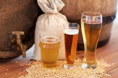 Close up of beer barrel, glasses and bag with malt Stock Photos