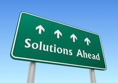 Solutions ahead road sign concept  3d illustration Stock Illustration