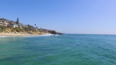 Flying South along the Water in Main Beach, Laguna Beach, Southern California Stock Footage