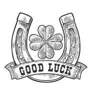 Four leaf clover, horseshoe, ribbon with text good luck. Vintage vector Stock Illustration
