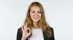 Businesswoman Showing Ok sign , All Is Okay , Portrait, White background Stock Footage