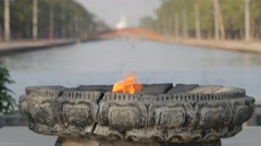 Eternal flame,Lumbini,Nepal Stock Footage