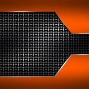 Orange metal frame on black metallic mesh. Stock Illustration