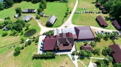 Buildings in recreation zone aerial view Stock Footage