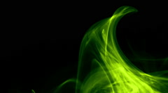 Colored curl, wave of smoke on black background - Green toxic, lemon bright Stock Footage