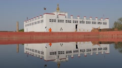 Maya Devi Temple where buddha was born with reflection,Lumbini,Nepal Stock Footage