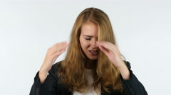 Portrait Of Frustrated ,Upset And Angry Businesswoman, White background Stock Footage