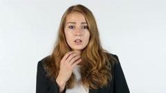 Amazed , Shocked Businesswoman , Portrait , White background Stock Footage