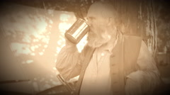 Civil War soldier drinking alcohol (Archive Footage Version) Stock Footage