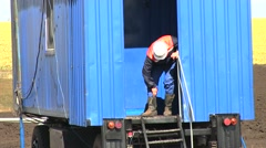 Man Worker On Drilling Rig On Drilling Site Stock Footage