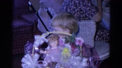 1969: family gathering with easter baskets given to kids FORT WAYNE, INDIANA Stock Footage