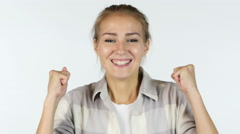 Young Female Student Reacting To Success , Excited Stock Footage