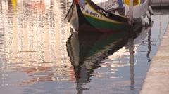 Moliceiro boat, in Aveiro Stock Footage