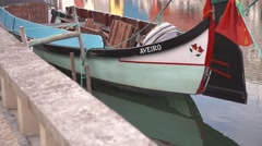 Traditional moliceiro boat in Aveiro, Portugal Stock Footage
