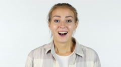 Amazed by Surprise, Portrait of Happy Beautiful Girl, White Background Stock Footage