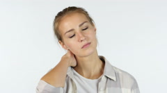 Neck Pain,  Portrait of Tired Sleepy Girl, White Background Stock Footage