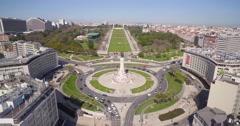 Aerial Shot of Marquês de Pombal, Lisbon Stock Footage
