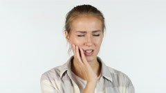 Pain in Teeth, Infection in Mouth, Beautiful Girl, White Background Stock Footage