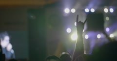 Audience at outdoor night rock concert Stock Footage