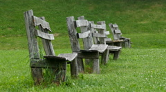Old wooden benches, 4K Stock Footage