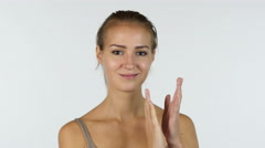 Clapping, Applause by Beautiful Girl, White Background Stock Footage