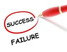 Success failure concept  3d illustration Stock Illustration
