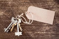 Bunch of old keys with blank tag Stock Photos