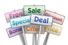 Sale deal placards concept  3d illustration Stock Illustration