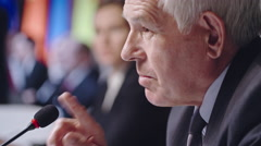 Assertive Senior Politician at Press Conference Stock Footage