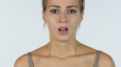 Shock, Disturbed,  Close up of Upset Girl, White Background Stock Footage