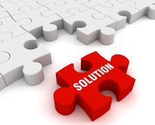 Solution puzzle concept  3d illustration Stock Illustration