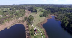 4K Countryside aerial view with 2 beautiful lakes Stock Footage