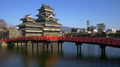 Matsumoto castle in cherry blossom season, Nagano, Japan Stock Footage