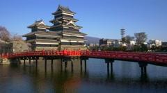 Matsumoto castle in cherry blossom season, Nagano, Japan Stock Footage