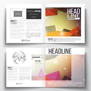 Set of business templates for brochure, magazine, flyer. Molecular construction Stock Illustration