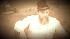 Gloomy and sad Civil War soldier (Archive Footage Version) Stock Footage