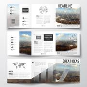 Set of tri-fold brochures, square design templates. Abstract colorful polygonal Stock Illustration